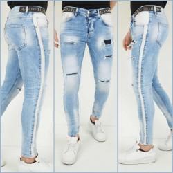 Heren Spijker Broek Skinny-fit Elastisch Blauw met Details