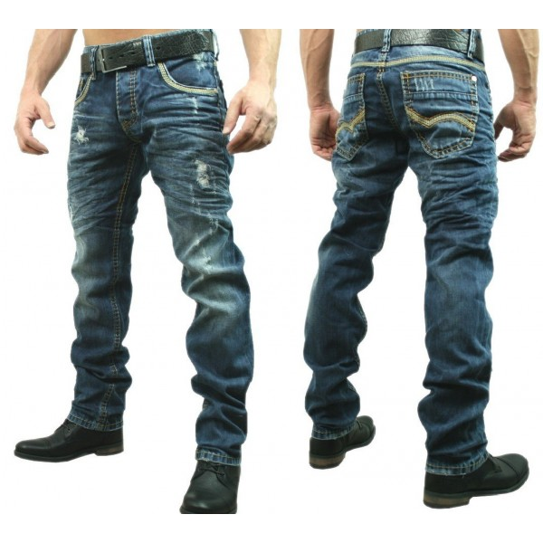 Heren Blauwe Regular Jeans