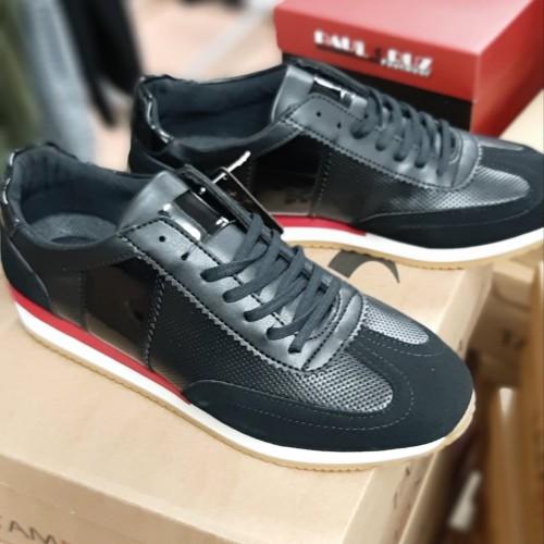 Heren Zwarte Casual Sneaker met Rode Details