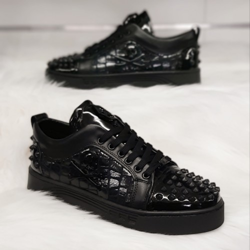 Heren Lage Sneaker met Zwarte Details