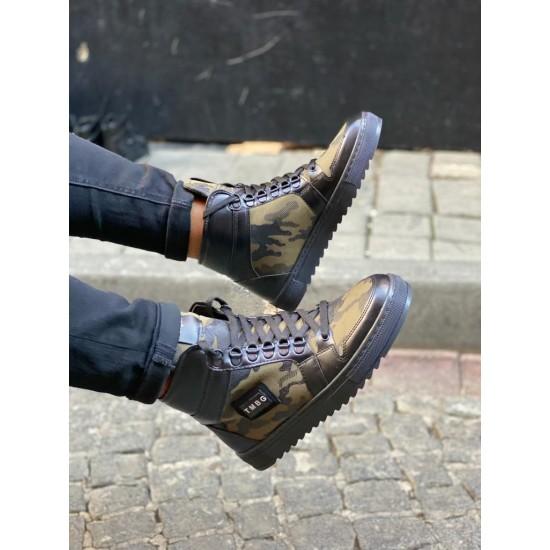 Heren Hoge Python Sneakers Zwart