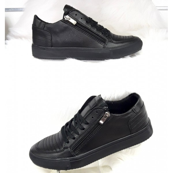Heren Zipper Sneakers Zwart