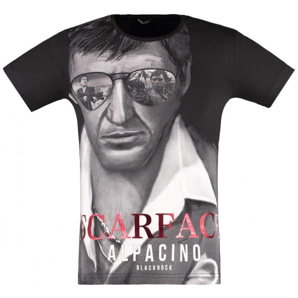Zwarte BlackRock Scarface Tony Montana T-Shirt