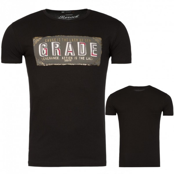Heren Grade Print T-Shirt Black