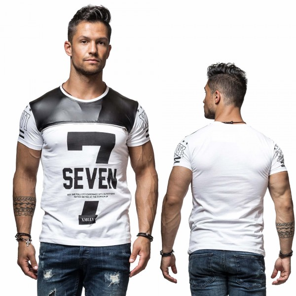 Heren T-Shirts Seven Print Wit