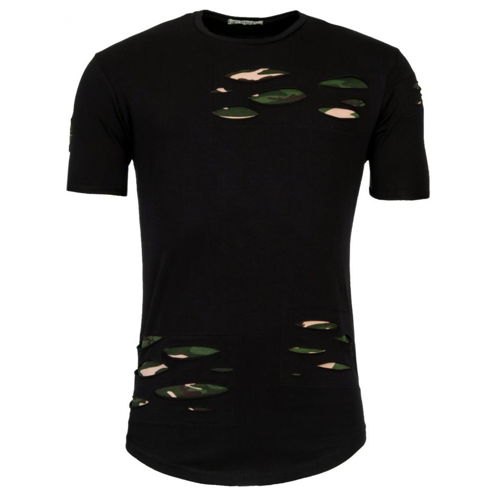 heren lange slim t shirt met groene patches ht119. Black Bedroom Furniture Sets. Home Design Ideas