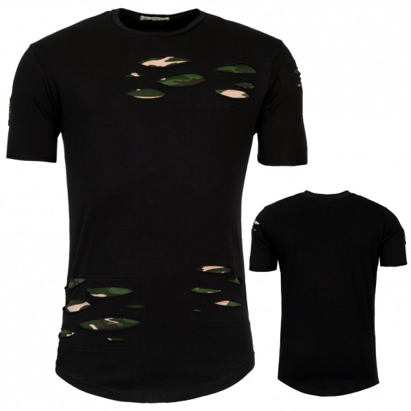 Heren Lange Slim T-Shirt met Groene Patches