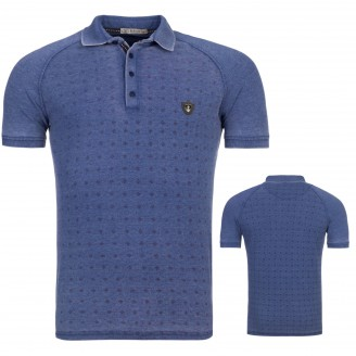 Heren Polo T-Shirt Melange Blauw