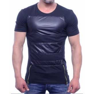 Heren Blauwe Leder-look T-Shirt