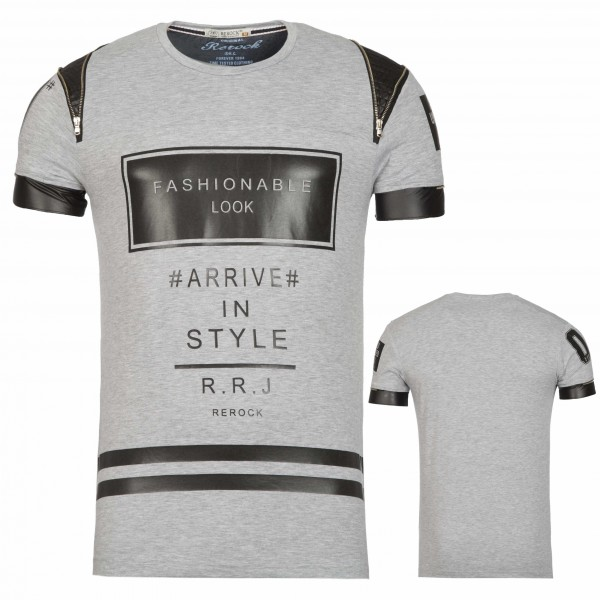 Heren T-Shirt Fashionable Print Grijs