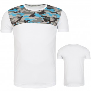 Heren T-Shirt Camouflage White