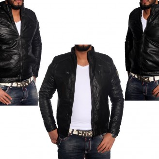 Heren Leder-look Biker jacket