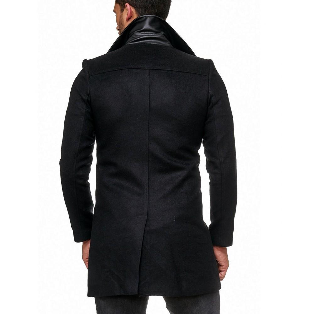 Winterjas Heren Trenchcoat.Heren Trenchcoat Slimfit Zwart Hj040 Modedam Nl