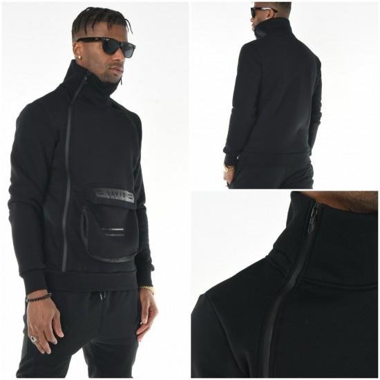 Heren Sweater met Sjaal Kraag Zwart