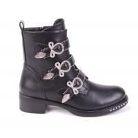 specifiek aanbod winkel uitstekende kwaliteit Dames Biker Boots met 3 Gespen en Studs
