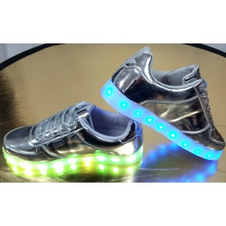 Dames Zilvere Oplaadbare Led Sneakers