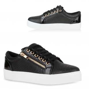 Dames Zipper Snake Sneakers - Zwart
