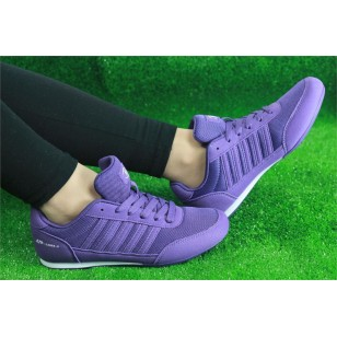 Dames Purple White Leather Sneakers