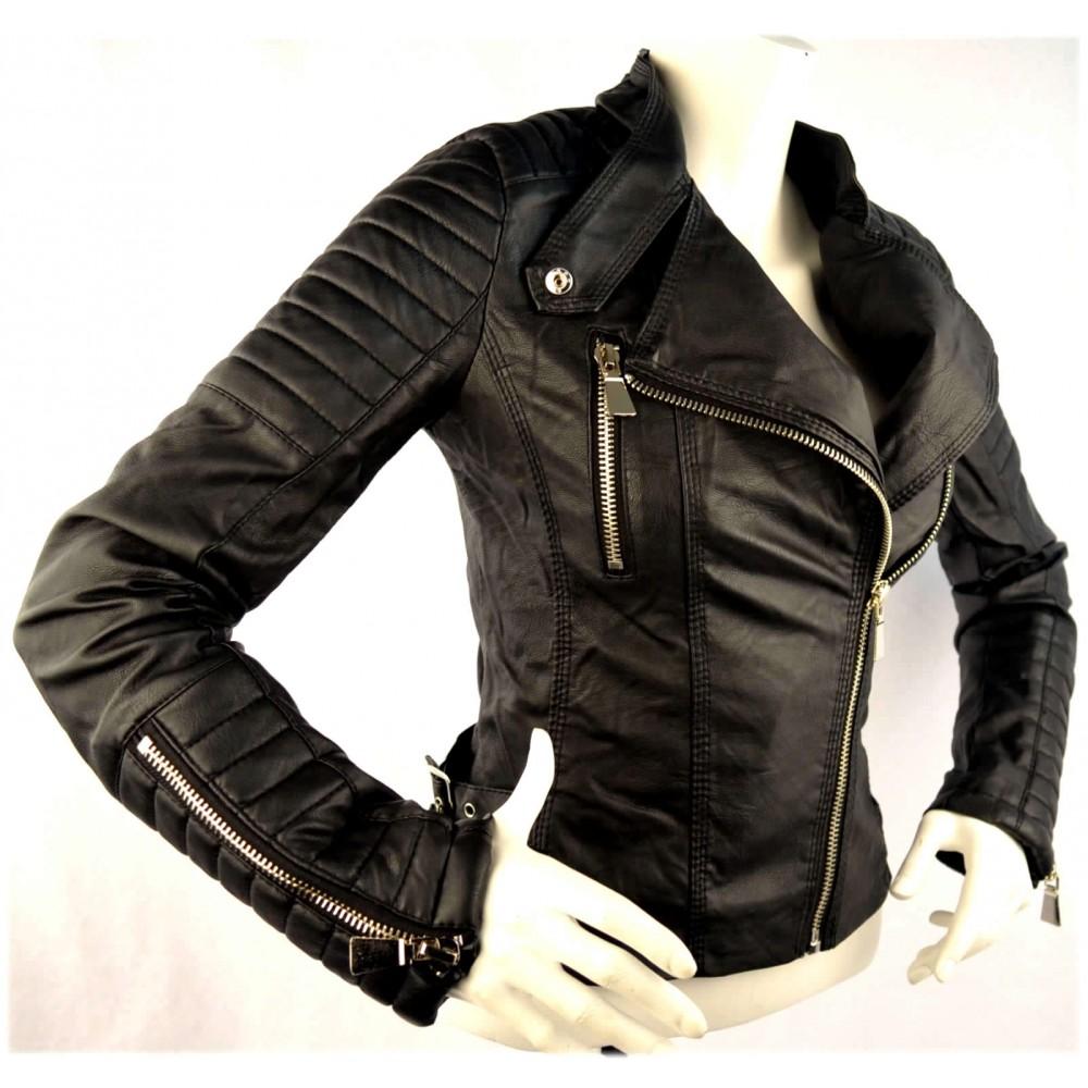Leren Zomerjas Dames.Dames Zwarte Leren Look Biker Jacket Modedam Nl