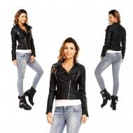 Dames Zwarte Leren Look Biker Jacket