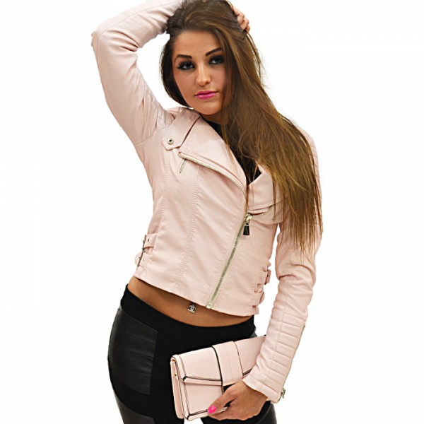 Dames Rose Leren Look Biker Jacket