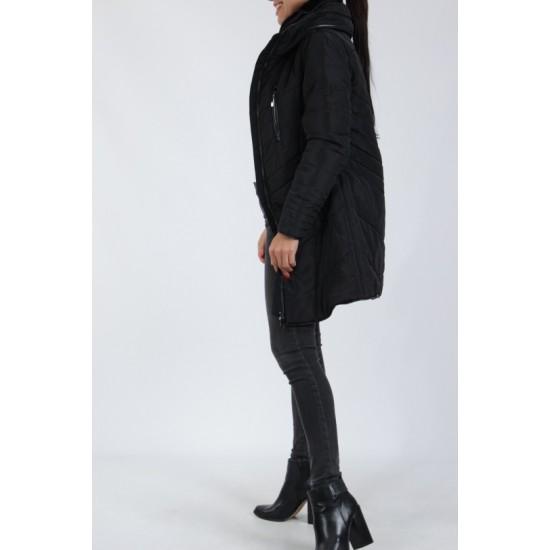 Dames Zwarte Winterjas met Zwarte Details
