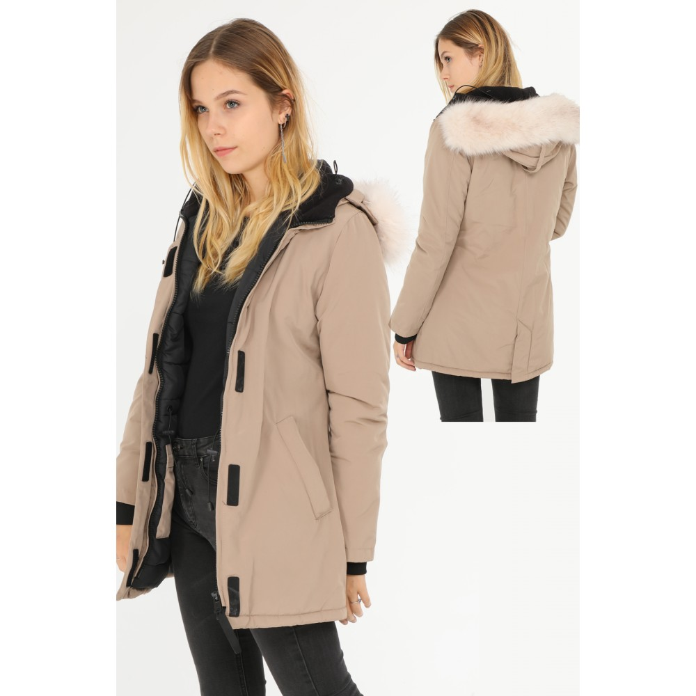 buy popular 89e68 4b784 Dames Parka Winterjas Beige
