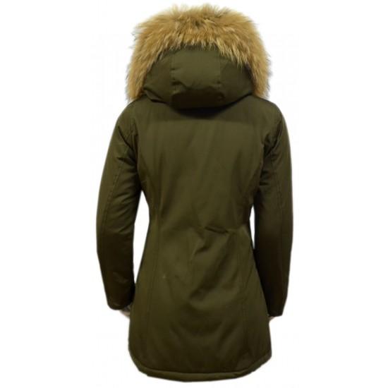 Dames Groen Winterjas met Grote Bont