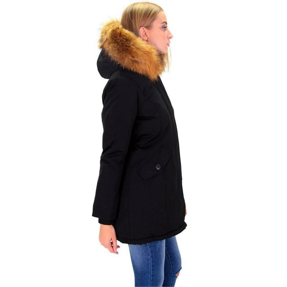 Dames Lange Winterjas.Dames Zwart Winterjas Met Grote Bont Dj041 Modedam Nl