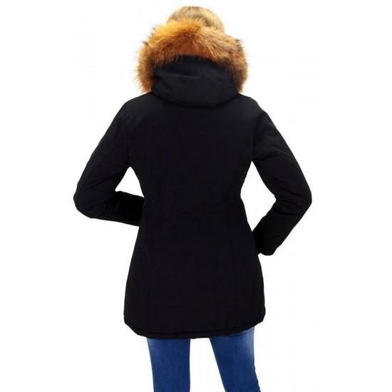 Dames Zwart Winterjas met Grote Bont