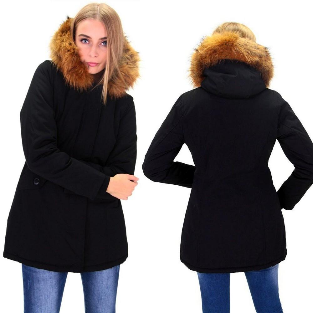Dames Winterjas.Dames Zwart Winterjas Met Grote Bont Dj041 Modedam Nl